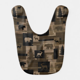 Rustic bear moose wood pattern baby bib