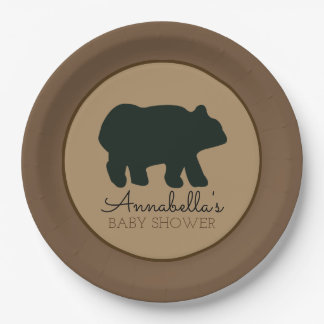 Rustic Bear Paper Plate (Brown) 9 Inch Paper Plate