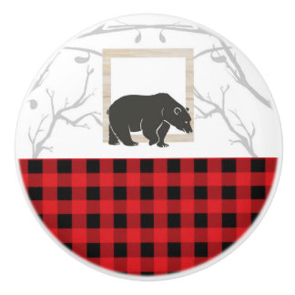 Rustic Bear & Red Buffalo Plaid Country Woods Ceramic Knob