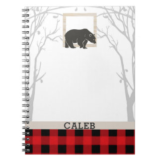 Rustic Bear & Red Checkered Plaid Country Woods Spiral Notebook