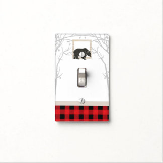 Rustic Bear & Red Plaid Country Woods Light Switch Cover