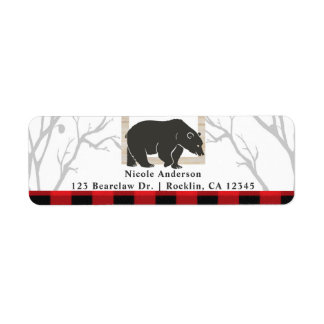 Rustic Bear & Red Plaid Woods Wedding Party Invite