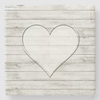 Rustic Beautiful Wood Texture Heart Stone Coaster