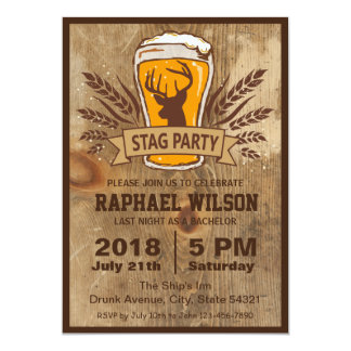 """Rustic Beer & Stag Bachelor Party Card 5"""" X 7"""" Invitation Card"""