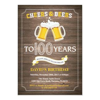 Rustic Beer Surprise 100th Birthday Invitation