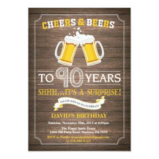 Rustic Beer Surprise 90th Birthday Invitation