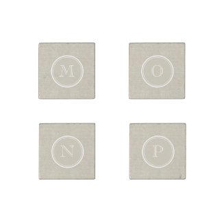 Rustic Beige Linen Background Monogram Stone Magnet