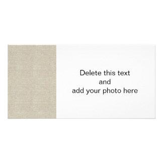Rustic Beige Linen Printed Custom Photo Card