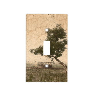 Rustic beige textured tree on farm photograph light switch cover