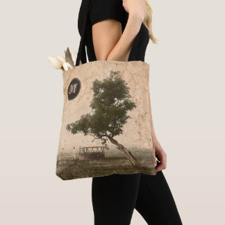 Rustic beige textured tree on farm photograph tote bag