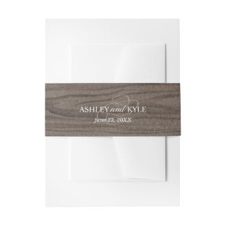 Rustic belly band on brown wood background invitation belly band