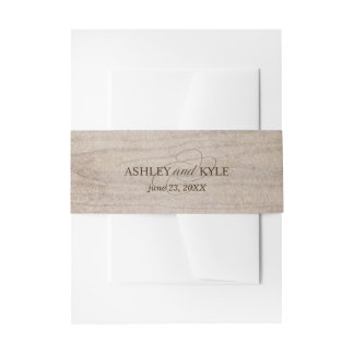 Rustic belly band on light brown wood background invitation belly band