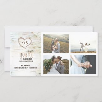 Rustic Birch Bark Heart Wedding Thank You