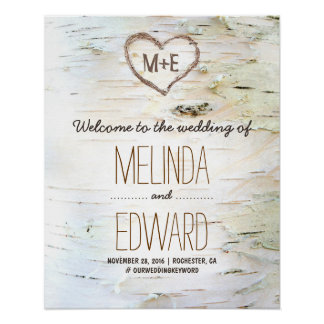 Rustic Birch Bark Heart Wedding Welcome Sign