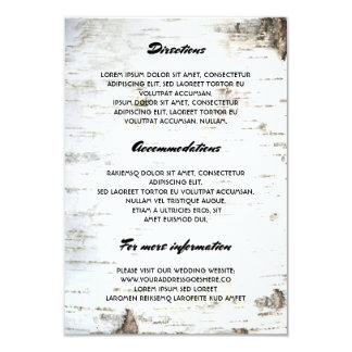"Rustic Birch Bark Wedding Details- Information 3.5"" X 5"" Invitation Card"