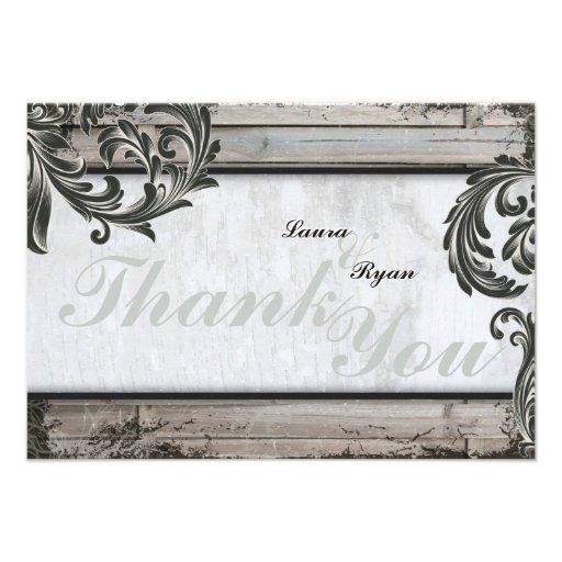 Rustic Birch Board Elegant Wedding Thank You Card
