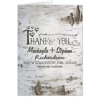 rustic birch tree bark wedding thank you card