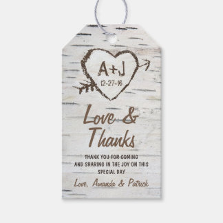 Rustic Birch Tree Bark Wedding Thank You Tags Pack Of Gift Tags