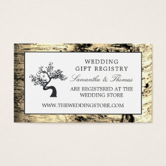 Rustic Birch Tree, Gift Registry Business Card
