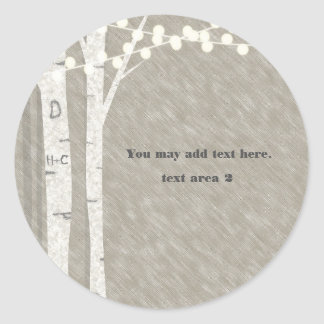 Rustic Birch Tree String Lights Favor Stickers