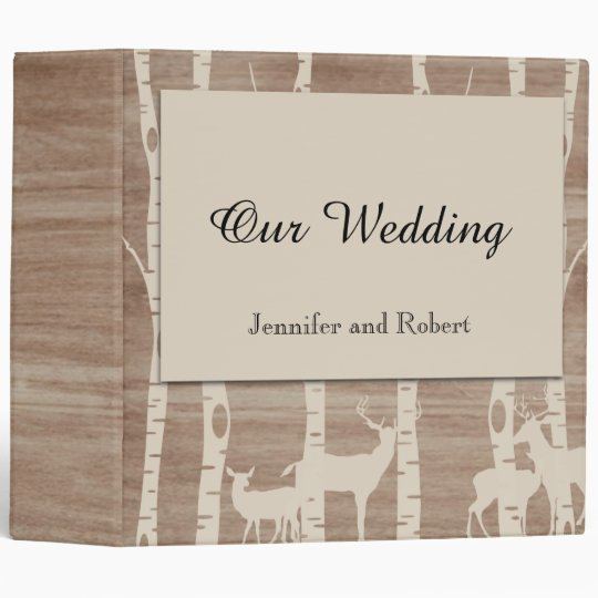 Rustic Birch Trees and Deer Wedding Binder