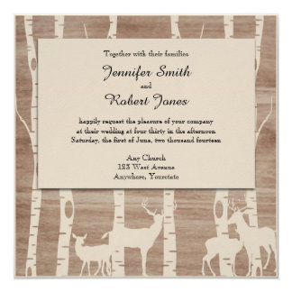 Rustic Birch Trees and Deer Wedding Invitation