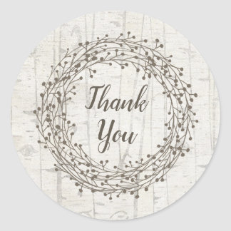 Rustic Birch wood bark wedding favor thank you Classic Round Sticker