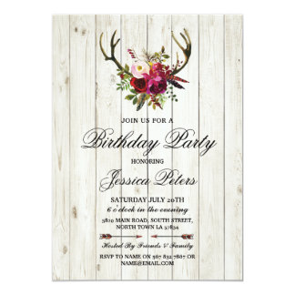 Rustic Birthday Party Floral Antlers Stag Invite