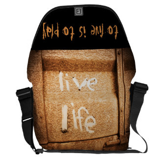 Rustic black and gold Inspirational Live Life Commuter Bag