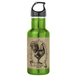 rustic black and grey rooster design on burlap