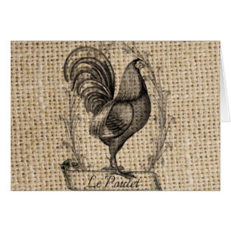 rustic black and grey rooster design on burlap card