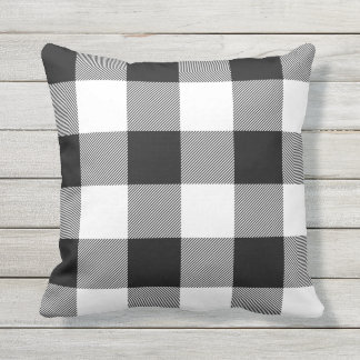 Rustic Black and White Buffalo Check Plaid Outdoor Pillow