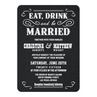 Rustic Black Burlap Old West Wedding Invitations