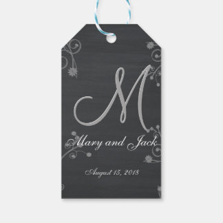 Rustic Black Chalk Chalkboard 3d Monogram Pack Of Gift Tags