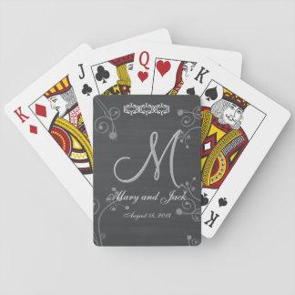 Rustic Black Chalk Chalkboard 3d Monogram Poker Deck