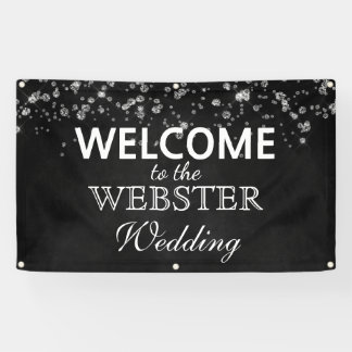 Rustic Black Chalkboard Diamonds Elegant Wedding Banner