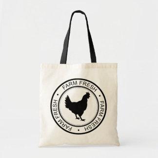 Rustic Black Farm Fresh Badge Black Hen Tote Bag
