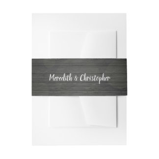 Rustic Black Grey Wood and String Lights Wedding Invitation Belly Band