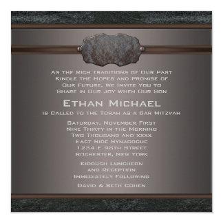 Rustic Black Leather Bar Mitzvah Card