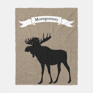 Rustic Black Moose Silhouette Ribbon Family Name Fleece Blanket
