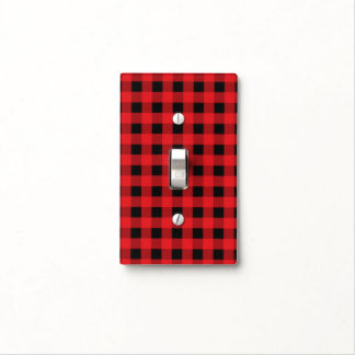 Rustic Black Red Checkered Buffalo Plaid Pattern Light Switch Cover