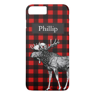 Rustic Black & Red Plaid Moose Custom Name iPhone 8 Plus/7 Plus Case