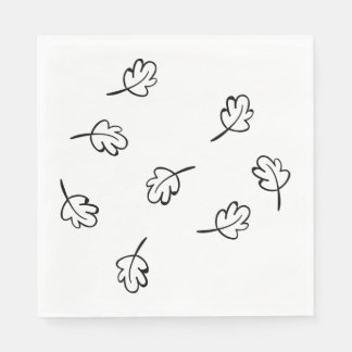 Rustic Black & White Leaf Wedding Party Fall Paper Napkin