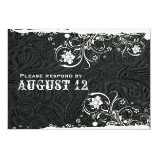 Rustic Black White Leather RSVP Card