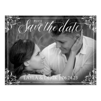 Rustic Black & White Save Date Postcard - Nadine