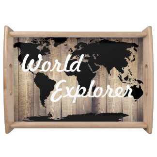 Rustic Black World Map World Explorer Serving Tray