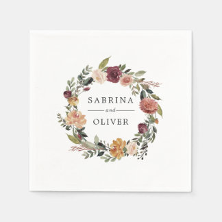 Rustic Bloom | Floral Wreath Personalized Wedding Paper Napkins