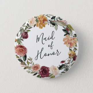 Rustic Bloom Maid of Honor 2 Inch Round Button