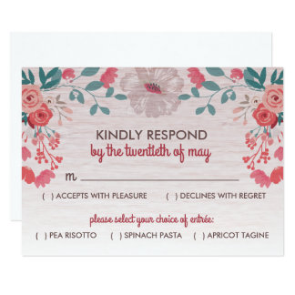 "Rustic Blossom 3.5"" x 5"" RSVP Response Cards"
