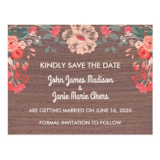 Rustic Blossom Save the Date Postcard